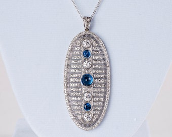 Antique 5ct Diamond Necklace - Custom Conversion Art Deco Brooch ---> Pendant