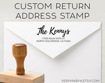 modern calligraphy wooden return address stamp! custom stamp, personalized stamp, rubber stamp, wood stamp!