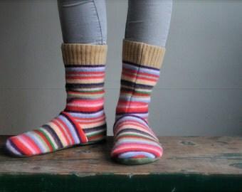 Children's Felted Wool Slippers/ Cabin Socks, Wool Slippers,Toddler Slippers