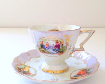 Vintage Pedestal Iridescent Lusterware Tea Cup and Saucer Unmarked Victorian Tea Party