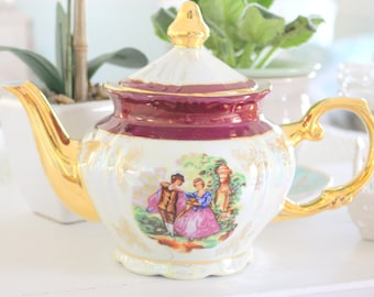 Vintage Laurel Shield, Yao Shing, 6 Cup Teapot with Lid, Fragonard Inspired, Courting Couple, Tea Party, Gifts for Her