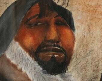 Vintage Eskimo Artwork Vintage Eskimo Pastel Signed Eskimo Art