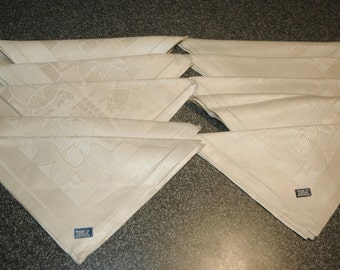 10 Vintage Linen Damask Napkins...Made In Czechoslovakia...Some Still Have Tags