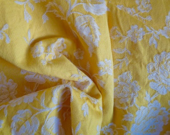 """Vintage FRENCH DAMASK TICKING, Lemon Yellow Fabric, with a White Roses Pattern. Long 90cm x wide 150cm or long 35.4 """" x wide 59 """"."""