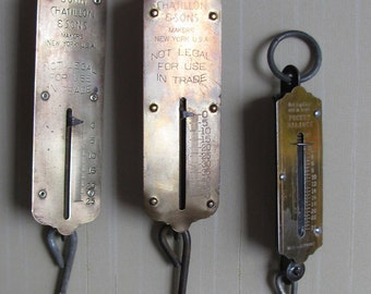 3 Antique Scales: Brass, One Free Scale, Vintage Industrial, Country, Rustic Kitchen, from TransferofTreasures