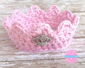 Crochet Crown, Baby Crown, Pink Crown, Newborn Crown, Princess Crown, Baby Girl Crown, Newborn Crown Photo prop
