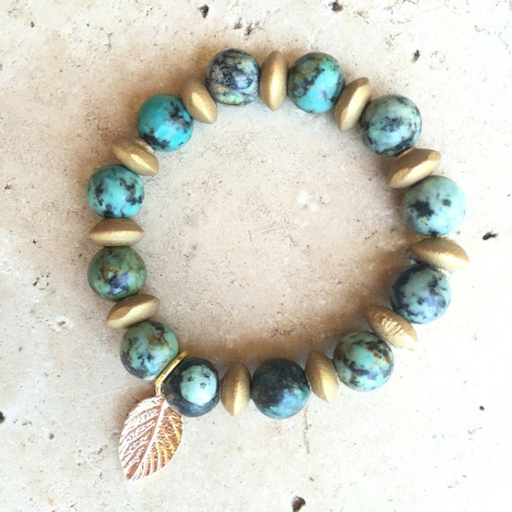 African Turquoise Green gold leaf wood Natural beaded bracelet 10mm genuine real stone beads