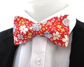 reserved FOR JEFF men's bowtie ~ Bright red , blue and white  floral fabric  - tie
