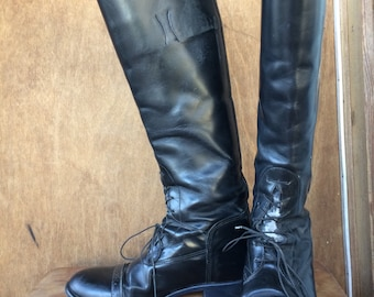Womens size 8.5 tall official equestrian riding boots lace up