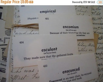 ON SALE 50 Vintage Flash Cards 1950s Scholarly Vocabulary Cards