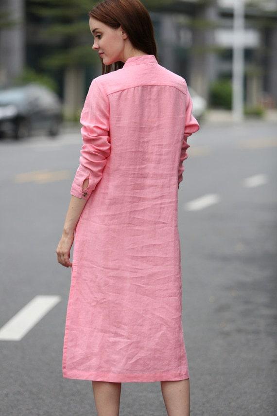 Pink Shirt Pink Tshirt Linen Shirt Dress Longsleeve Linen