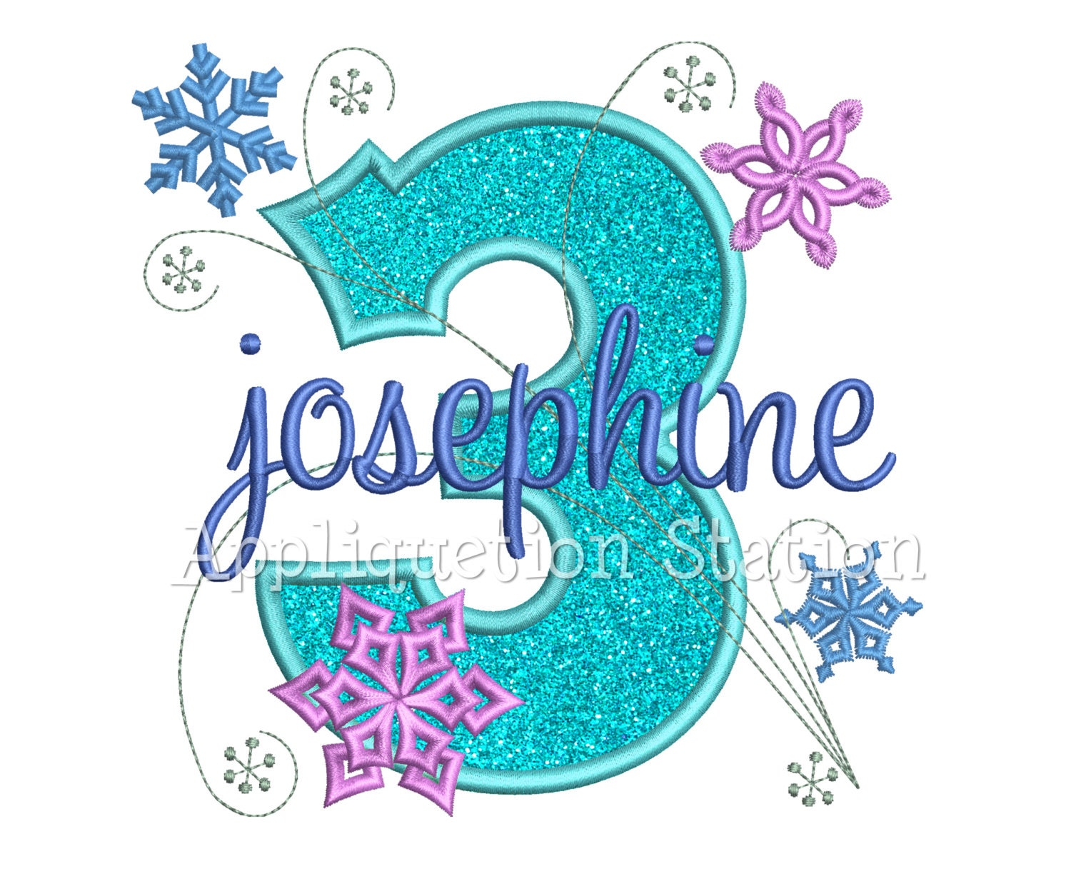 Snowflakes Number Three 3rd Birthday Applique Machine