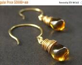 BACK to SCHOOL SALE Wire Wrapped Earrings - Honey Amber Teardrops in Gold. Handmade Jewelry.