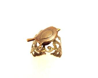 Bird Brass ring -Dove Terrarium Necklace -Duck terrarium ring- Dove  bottle necklace - porcelian duck ring -globe Glass Dome