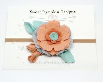 M2M Matilda Jane. Happy and Free. Baby Headband. Felt Flower Cluster. Flower Crown. Coral. Brown. Ivory. Clove. Wool Felt Flower. HB1335