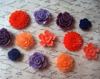 Mixed Resin Flowers, 12 pcs Coral and Purple Cabochon Flowers, Resin Roses, Dahlias, Sakura, No Holes, Flat Back Cabochons