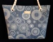 Medium Handbag, Navy Blue Purse, Navy Blue Bag, Ready to ship bags, Denim look purse, purses with leather straps
