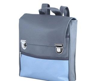 SALE Dark Gray and Light Blue Backpack, Vegan bag, Laptop Backpack, Student Faux leather Bag, Nostalgic Look School Backpack, Useful Knapsac