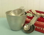 TWO SETS Vintage Aluminum Kitchen Utensils, MATCHING Measuring Cups and Spoons Sets - Vintage Home and Travel Trailer Decor