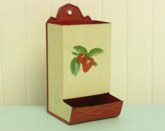 Vintage Tin Metal Matchbox Holder Safe, Red and Antique White with Strawberries Lithograph - Vintage Travel Trailer and Home Decor