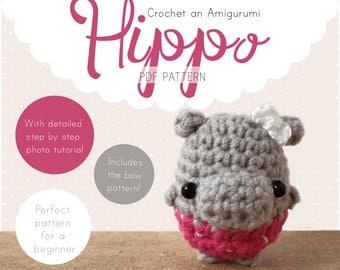 Hippo Amigurumi Pattern, Hippo Crochet Pattern, Kawaii Hippo Amigurumi PDF pattern