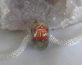 Handmade glass lampwork focal bead Big Hole European Charm artisan SRA loose bead cabin turkey