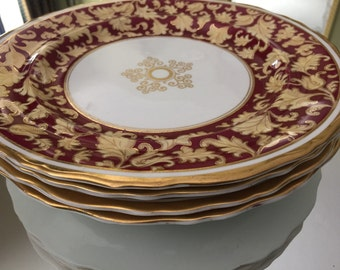 Antique Plates/Staffordshire/4 Dinner Plates/Hand Painted/Ye Olde Hall Potterie/Burley Company Chicago/H6490/Cabinet Display/Wedding Gift