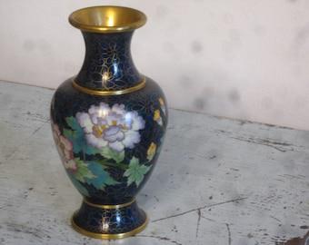 Cloisonne Vase , Asian Enamel Vase , Flower Vase