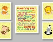 JUNGLE SAFARI Art Prints for kids, Playroom Rules, Childrens Wall Art, Yellow theme, Nursery art, Multiple SIZE options available