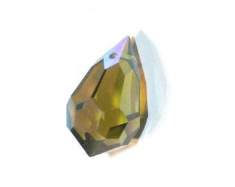 Preciosa Czech Crystal Drop - Olivine AB - top hole drilled - 12x20mm - 1 piece (035-P7)