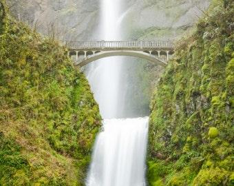 Oregon Landscape Photography Print - Multnomah Falls Spring - Panoramic Waterfall - Portland - MetalPrint Option - 10x20 15x30 20x40