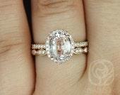 Federella 2.48ct & Christie 14k Rose Gold Icy Peach Sapphire and Diamond Oval Halo Wedding Set