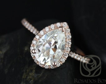 Rosados Box Tabitha 10x7mm 14kt Rose Gold Pear F1- Moissanite and Diamonds Halo Engagement Ring