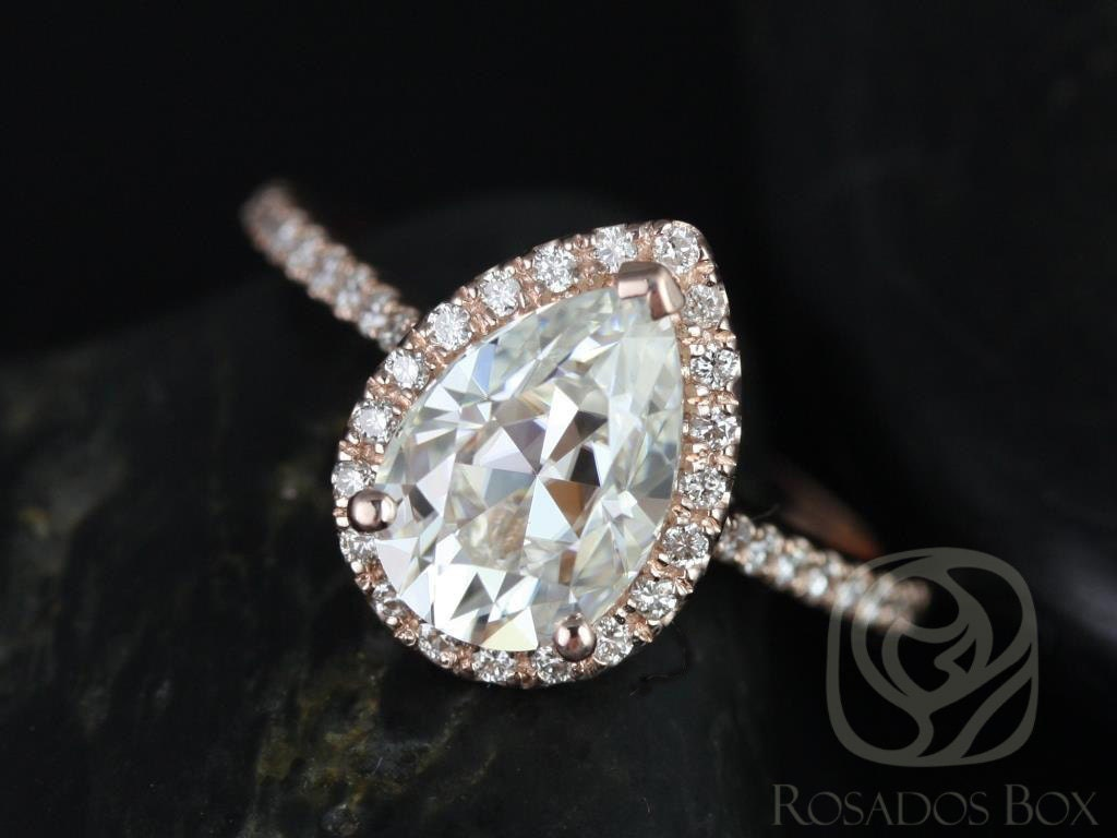 Rose Gold Pear F1 Moissanite And Diamonds Halo Engagement Ring (other  🔎zoom