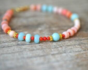 Peach coral bracelet Aqua Amazonite bracelet Semi precious gem stone beaded bracelet Modern boho bracelet Summer beach everyday jewelry