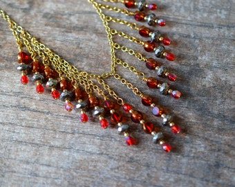 Cascading bib necklace Red waterfall necklace Boho chic gold chain necklace Wire wrapped bead drop necklace Office career weekend jewelry