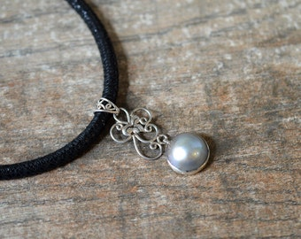 Elegant grey mabe pearl necklace Sterling silver flower filigree pendant necklace Black suede leather necklace Contemporary office jewelry