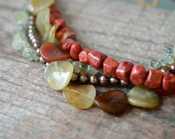 Chunky stone choker necklace Multistrand olive green rust torsade Semi precious gemstone nugget necklace Coral prehnite jade beads