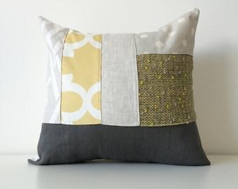 Modern Color Block Patchwork Pillow Cover, 16x16, Neutral Colors, Contemporary Patchwork, Linen Blend, Texture, Yellow, Grey, Black