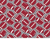 Footballs on Gray Cotton Flannel Fabric, by the half yard - NFL Football Superbowl