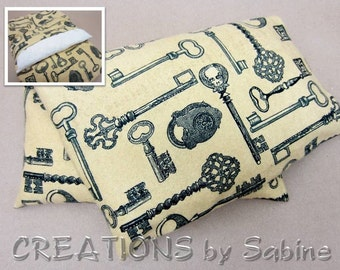 Corn Heating Pack Pillow Washable Cover Heat Bag Therapy flannel skulls steampunk skeleton key padlock keys Gift READY TO SHIP (430)