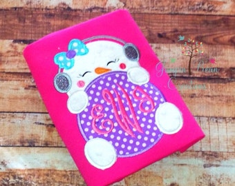 Pink Snowman Monogram shirt - girls winter shirt - girls christmas shirt