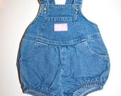 Retro Osh Kosh Jean Romper - Baby Girl - Faded Wash - Pink - Hip Baby Girl