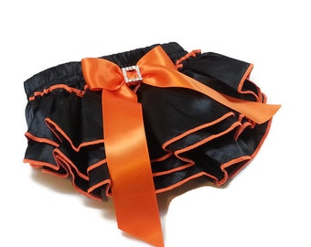 HALLOWEEN DIAPER COVER, Black Satin Ruffled Diaper Cover with Orange Stitching and Bow with Rhinestone Embellishment, Ruffled Baby Bloomers