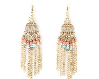 Pretty Gold Tone Bohemian Beads Dangle Drop Earrings