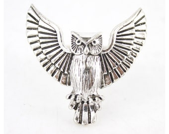Vintage Feel Silver-tone Flying Owl Ring,Size 7.5 <B18>