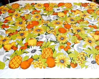 Vintage Tablecloth, Mushrooms Sunflowers Pineapples Oranges Pears Strawberries Cherries, Orange Yellow Gold Lime Green White, Table Linens