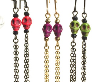 Colourful Day of the Dead Howlite Skull Beaded Earrings with Long Chain and Ear wires