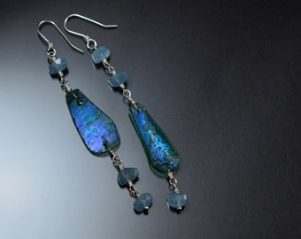 Ancient Greek Glass, Long Sterling Silver Earrings, Aquamarine Nuggets