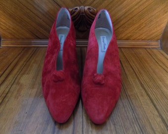 Sale! Vintage Sears Carriage Court Patricia Red Suede Leather Heels Shoes Size 8.5 M